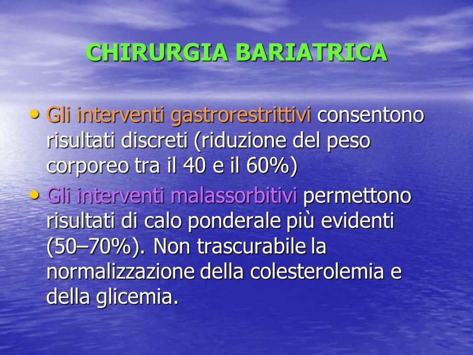 CHIRURGIA BARIATRICA Gli interventi gastrorestrittivi consentono risultati discreti (riduzione del peso corporeo tra il 40 e il 60%)