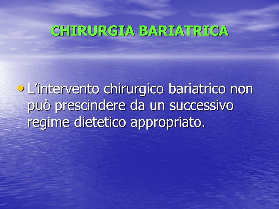 CHIRURGIA BARIATRICA L'intervento chirurgico bariatrico non può prescindere da un successivo regime dietetico appropriato.