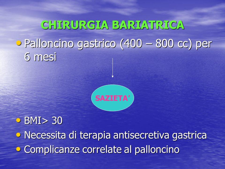 Palloncino gastrico (400 – 800 cc) per 6 mesi