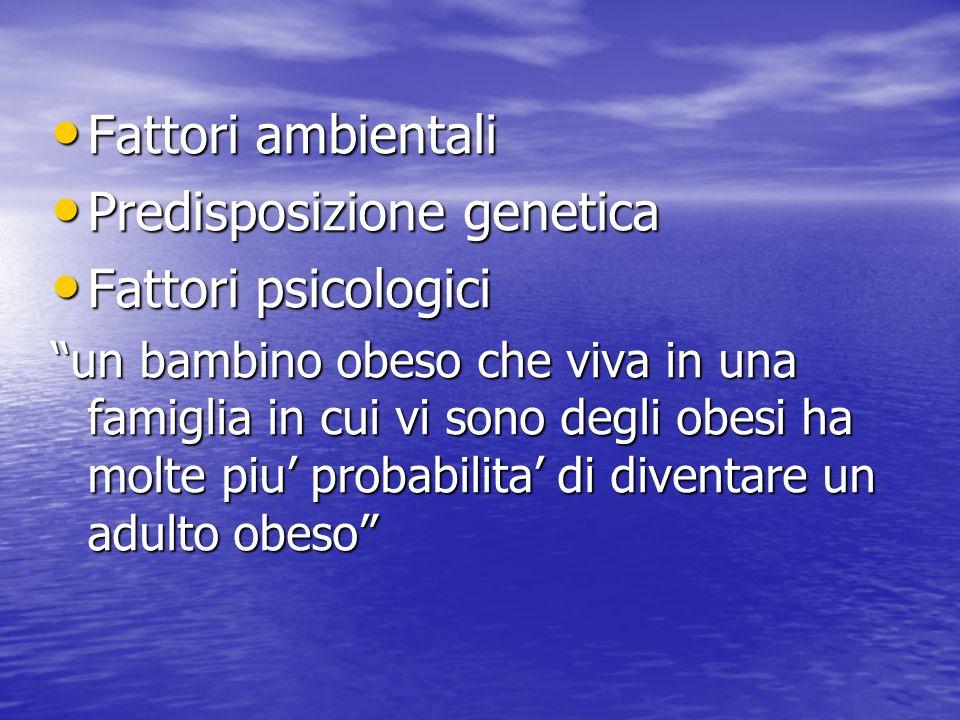 Predisposizione genetica Fattori psicologici