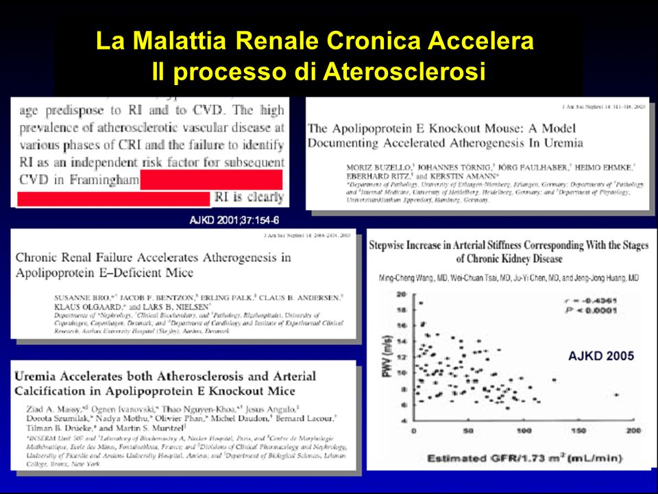 La Malattia Renale Cronica Accelera Il processo di Aterosclerosi