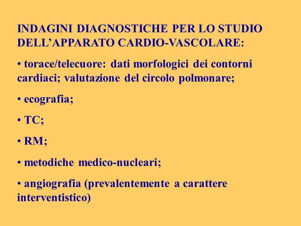 INDAGINI DIAGNOSTICHE PER LO STUDIO DELL'APPARATO CARDIO-VASCOLARE: