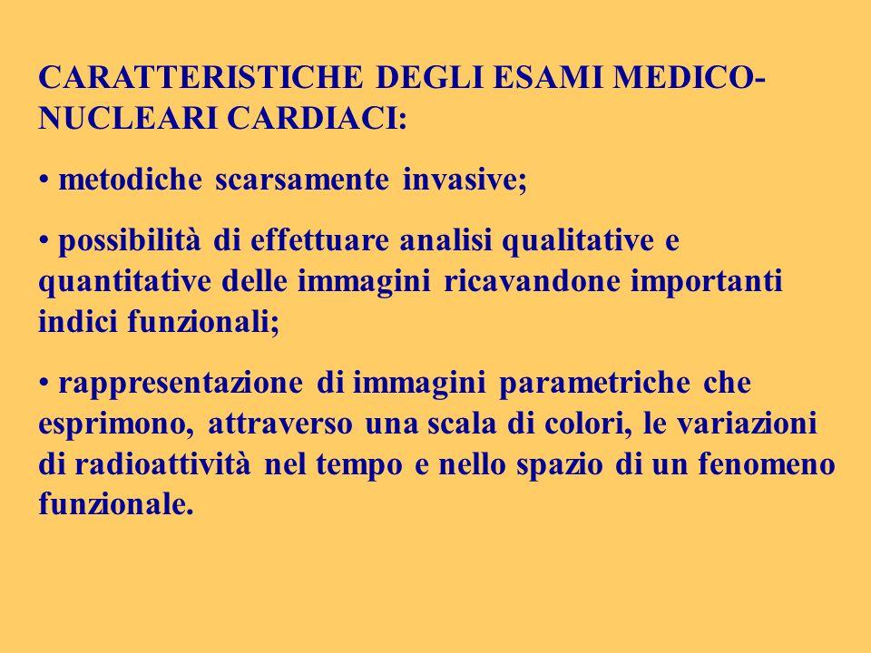 CARATTERISTICHE DEGLI ESAMI MEDICO-NUCLEARI CARDIACI:
