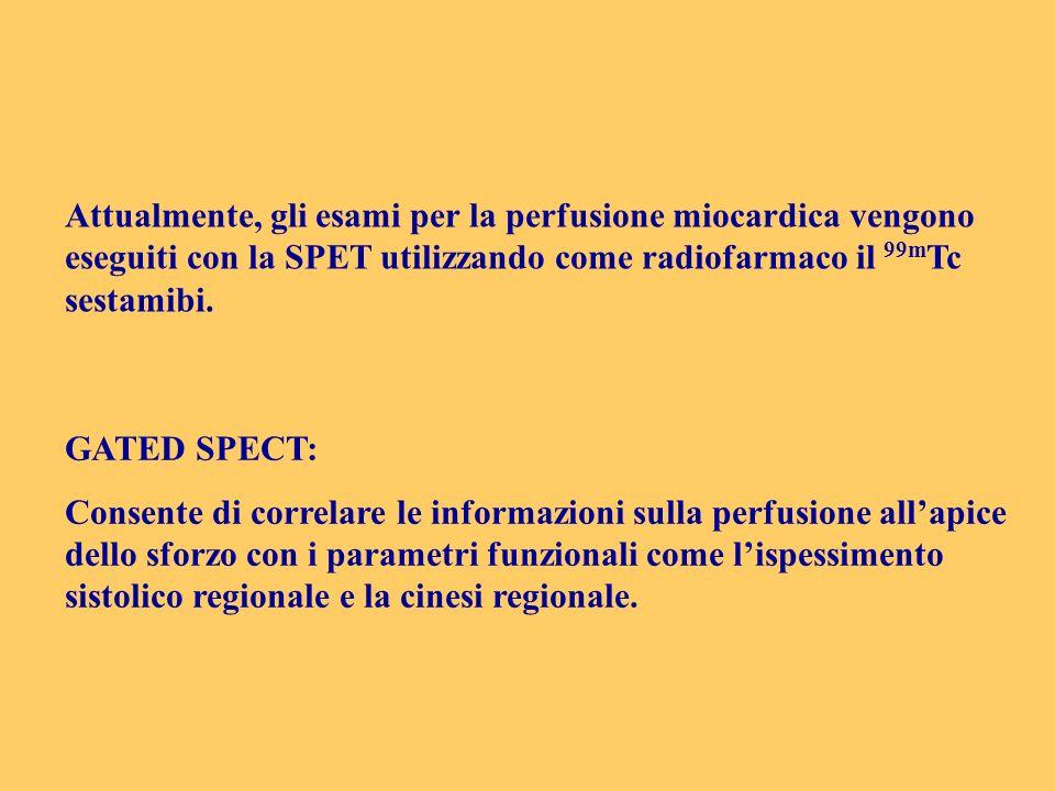 Attualmente, gli esami per la perfusione miocardica vengono eseguiti con la SPET utilizzando come radiofarmaco il 99mTc sestamibi.