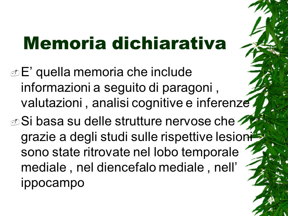 Memoria dichiarativa E' quella memoria che include informazioni a seguito di paragoni , valutazioni , analisi cognitive e inferenze.
