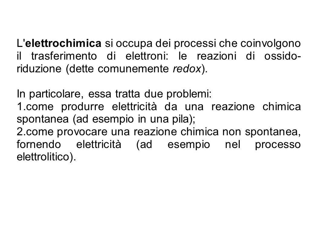 L elettrochimica si occupa dei processi che coinvolgono il trasferimento di elettroni: le reazioni di ossido-riduzione (dette comunemente redox).