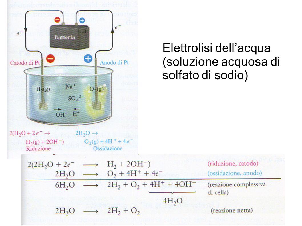 Elettrolisi dell'acqua (soluzione acquosa di solfato di sodio)