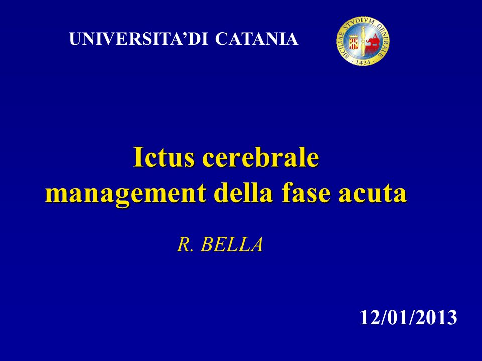 Ictus cerebrale management della fase acuta