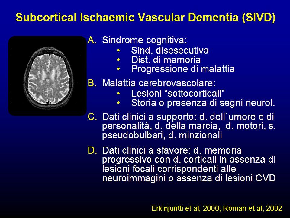 Le demenze da alterazione dei piccoli vasi cerebrali si presentano con un quadro clinico di tipo sottocorticale.