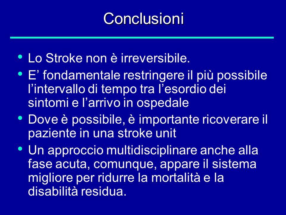 Conclusioni Lo Stroke non è irreversibile.