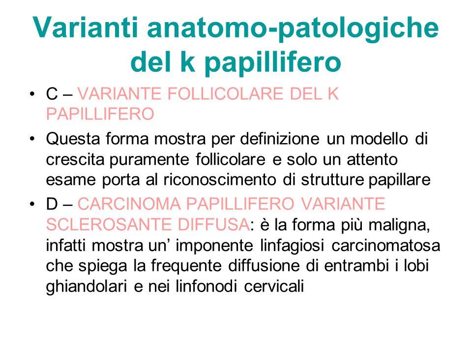 Varianti anatomo-patologiche del k papillifero