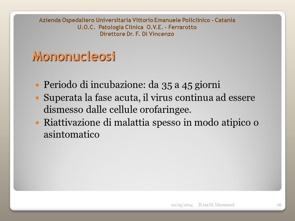 Mononucleosi Periodo di incubazione: da 35 a 45 giorni