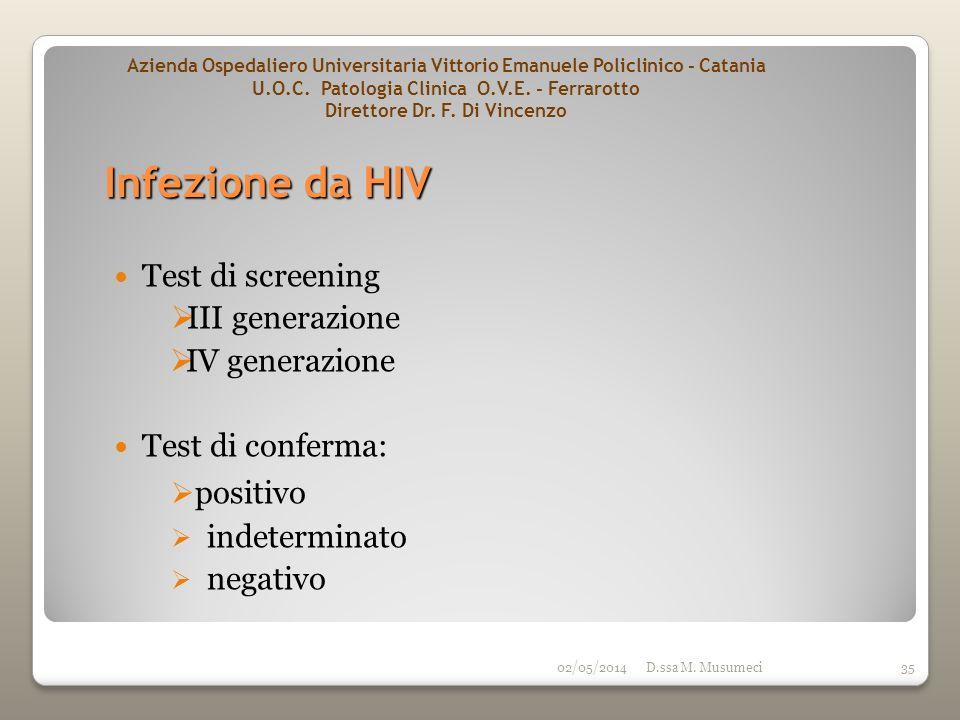 Infezione da HIV positivo Test di screening III generazione