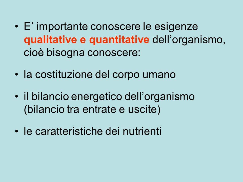 E' importante conoscere le esigenze qualitative e quantitative dell'organismo, cioè bisogna conoscere: