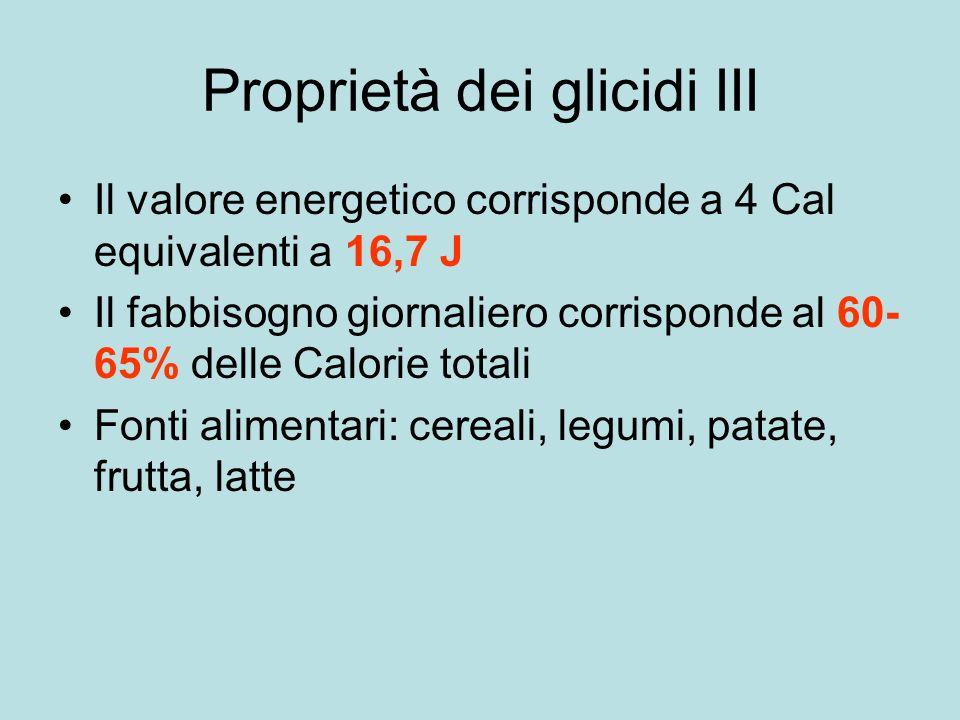 Proprietà dei glicidi III