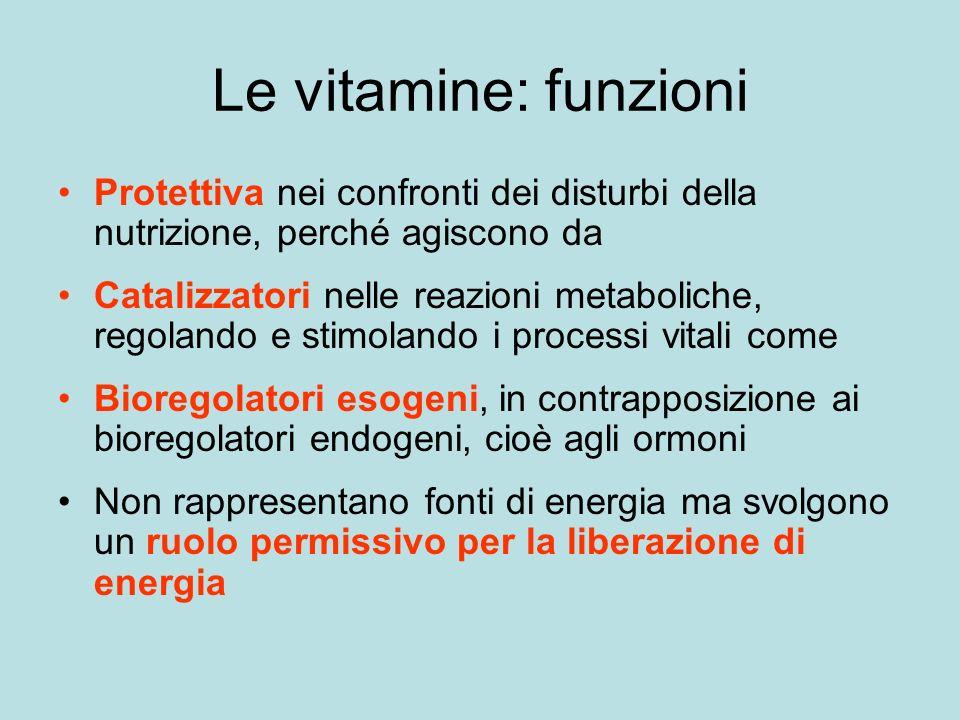 Le vitamine: funzioni Protettiva nei confronti dei disturbi della nutrizione, perché agiscono da.
