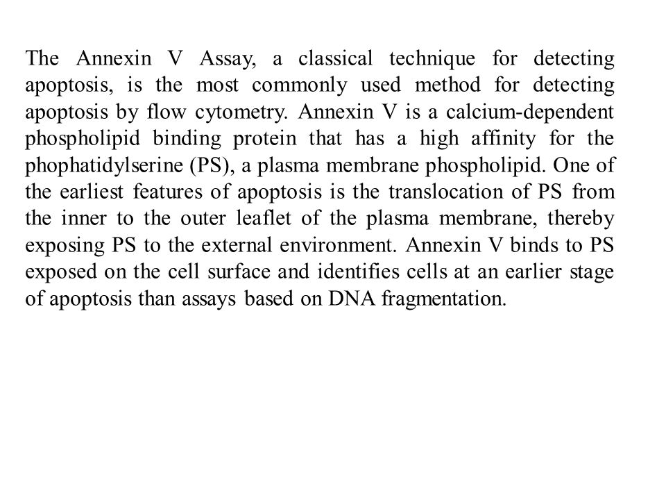 The Annexin V Assay, a classical technique for detecting apoptosis, is the most commonly used method for detecting apoptosis by flow cytometry.
