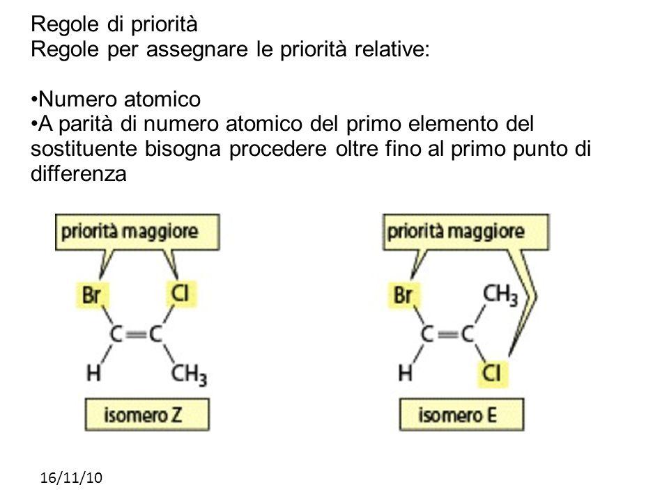 Regole per assegnare le priorità relative: •Numero atomico