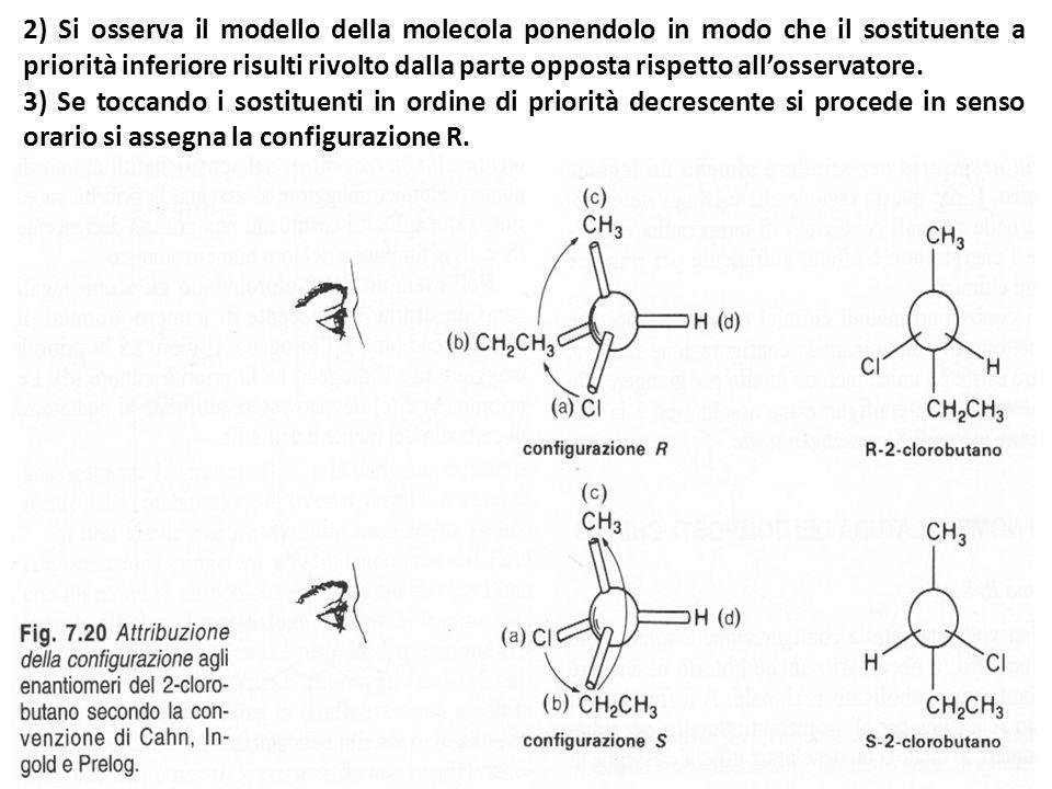 2) Si osserva il modello della molecola ponendolo in modo che il sostituente a priorità inferiore risulti rivolto dalla parte opposta rispetto all'osservatore.