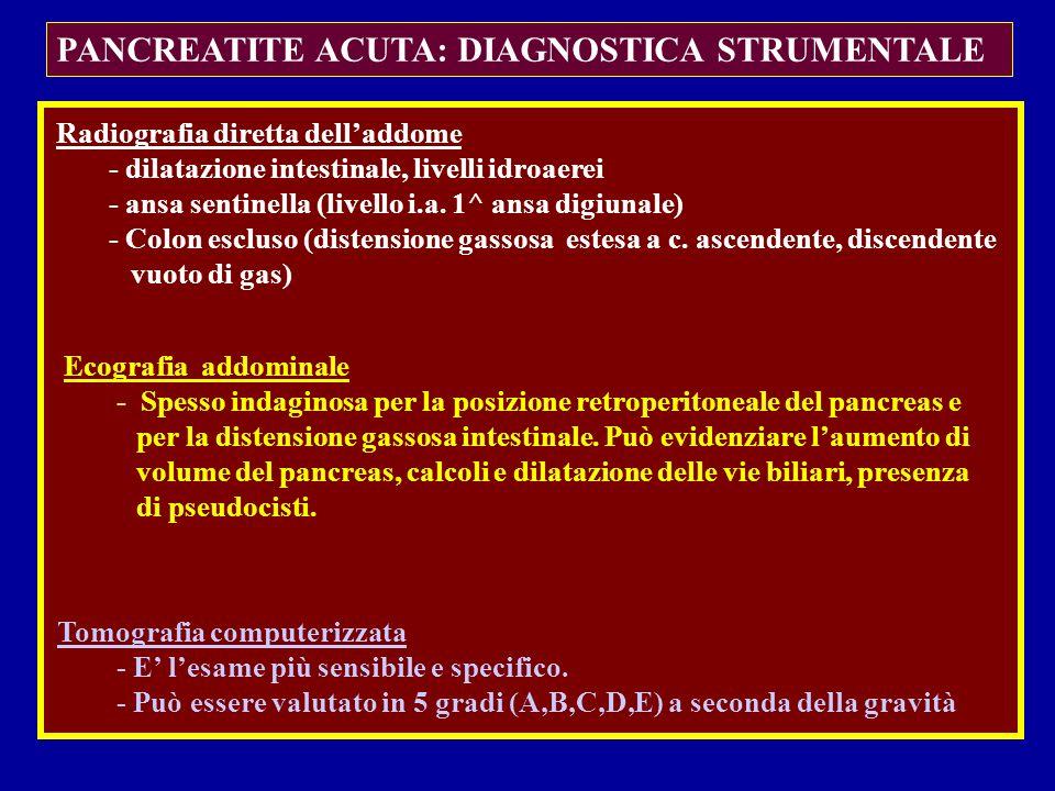 PANCREATITE ACUTA: DIAGNOSTICA STRUMENTALE