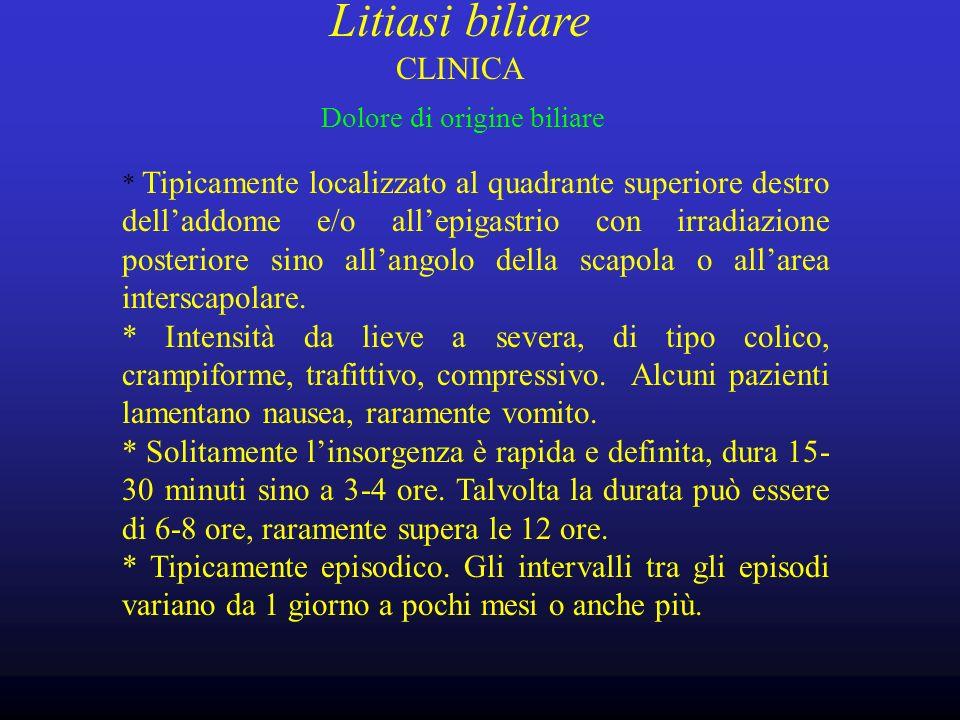 Litiasi biliare CLINICA Dolore di origine biliare