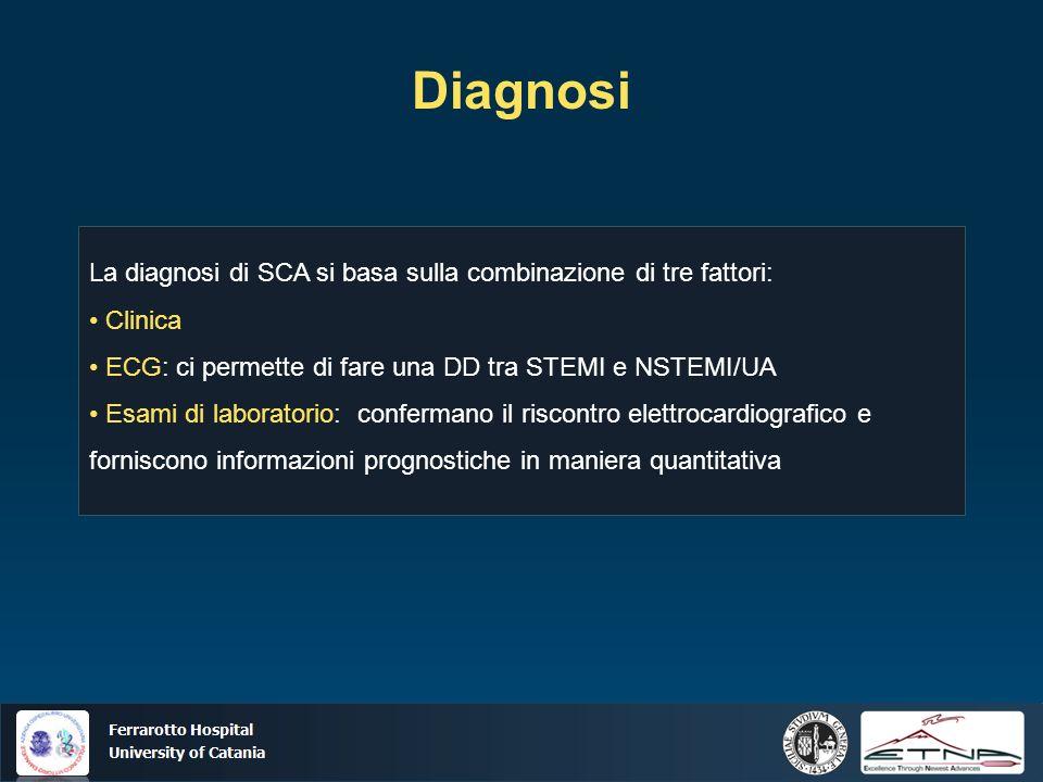Diagnosi La diagnosi di SCA si basa sulla combinazione di tre fattori: