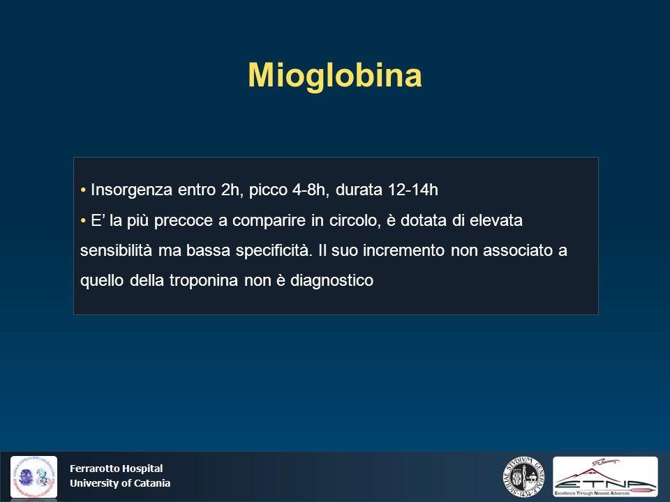 Mioglobina • Insorgenza entro 2h, picco 4-8h, durata 12-14h
