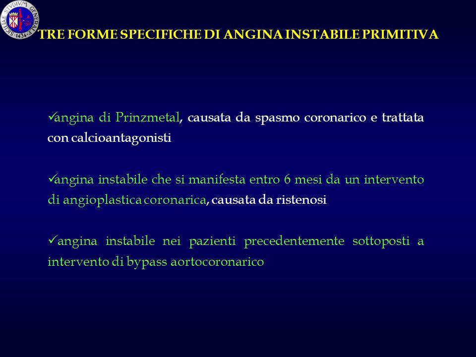 TRE FORME SPECIFICHE DI ANGINA INSTABILE PRIMITIVA
