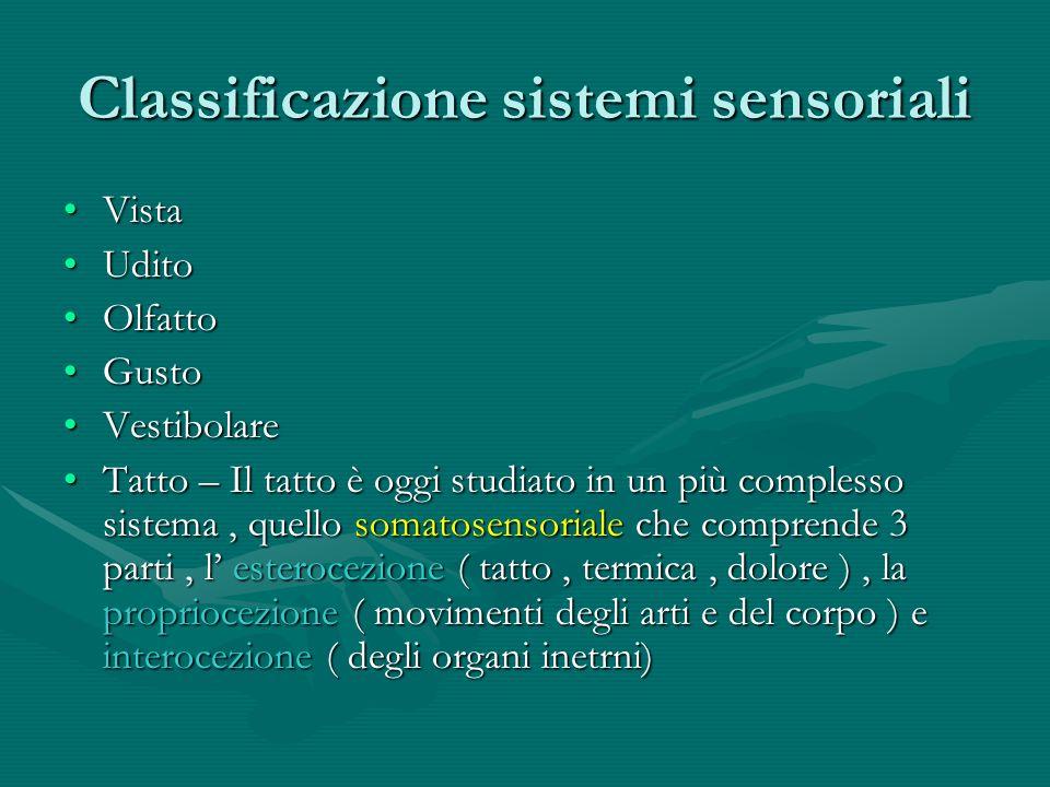 Classificazione sistemi sensoriali