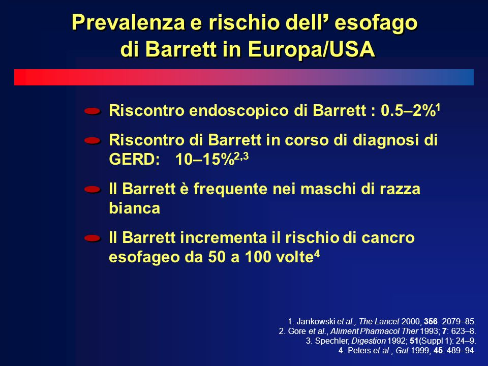 Prevalenza e rischio dell' esofago di Barrett in Europa/USA