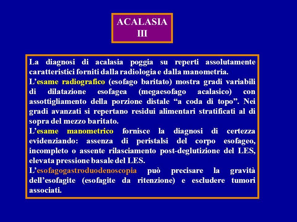 ACALASIA III. La diagnosi di acalasia poggia su reperti assolutamente caratteristici forniti dalla radiologia e dalla manometria.