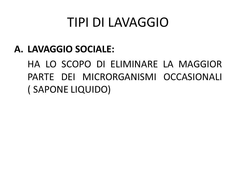 TIPI DI LAVAGGIO LAVAGGIO SOCIALE: