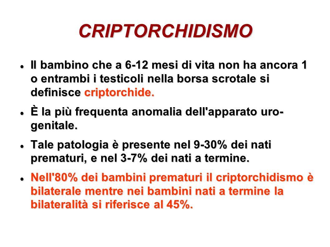 CRIPTORCHIDISMOIl bambino che a 6-12 mesi di vita non ha ancora 1 o entrambi i testicoli nella borsa scrotale si definisce criptorchide.