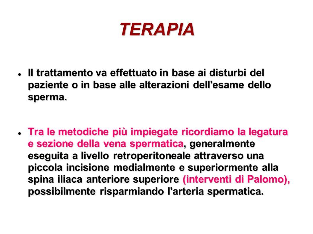 TERAPIA Il trattamento va effettuato in base ai disturbi del paziente o in base alle alterazioni dell esame dello sperma.