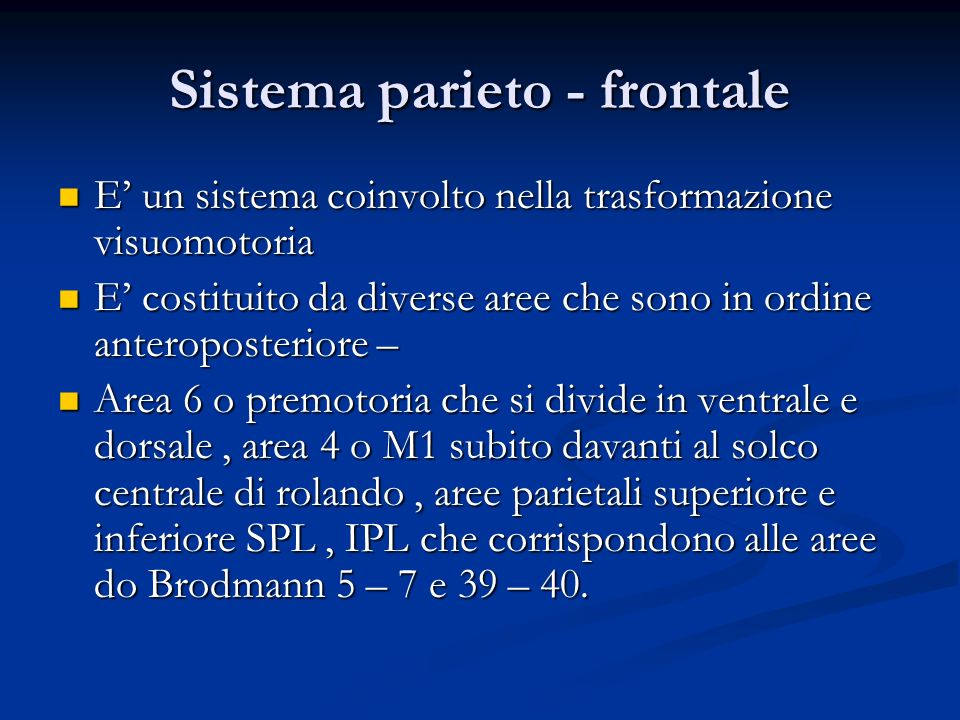 Sistema parieto - frontale