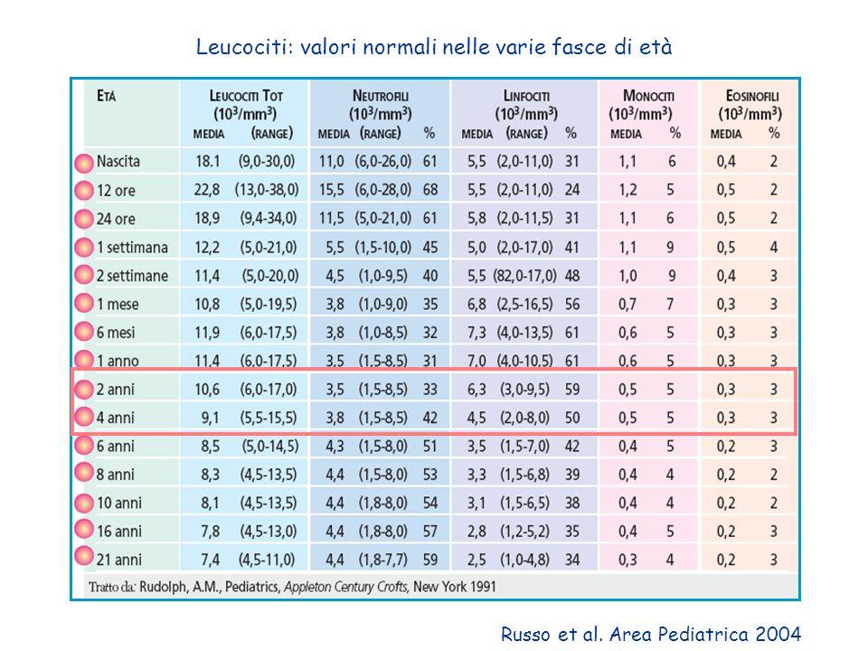 Leucociti: valori normali nelle varie fasce di età