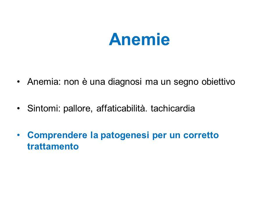 Anemie Anemia: non è una diagnosi ma un segno obiettivo