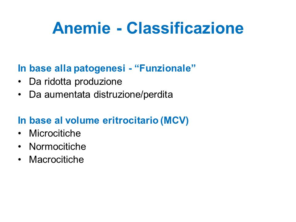 Anemie - Classificazione