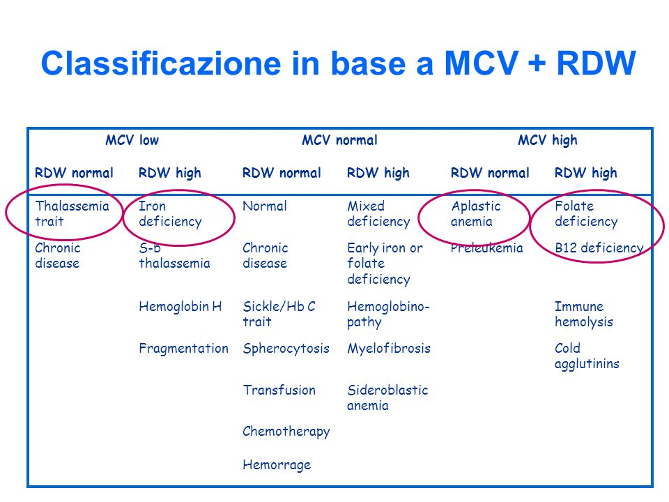 Classificazione in base a MCV + RDW