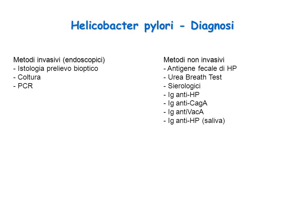 Helicobacter pylori - Diagnosi