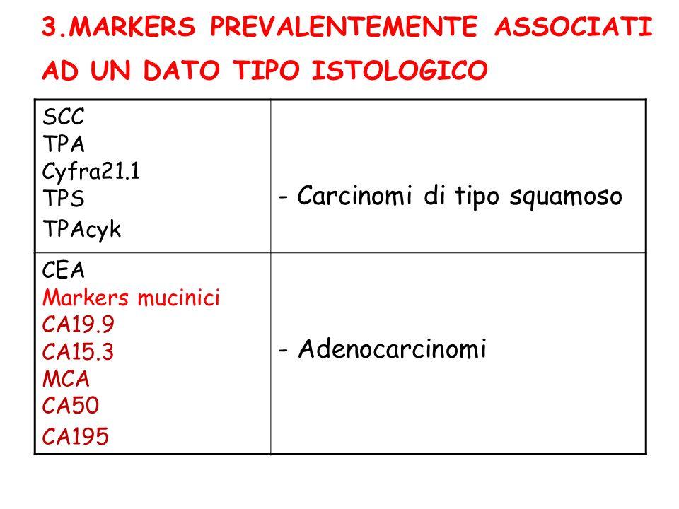 3.MARKERS PREVALENTEMENTE ASSOCIATI AD UN DATO TIPO ISTOLOGICO