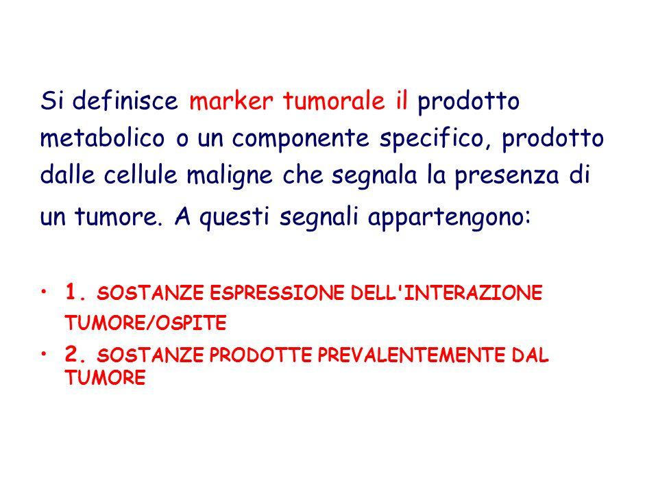 Si definisce marker tumorale il prodotto