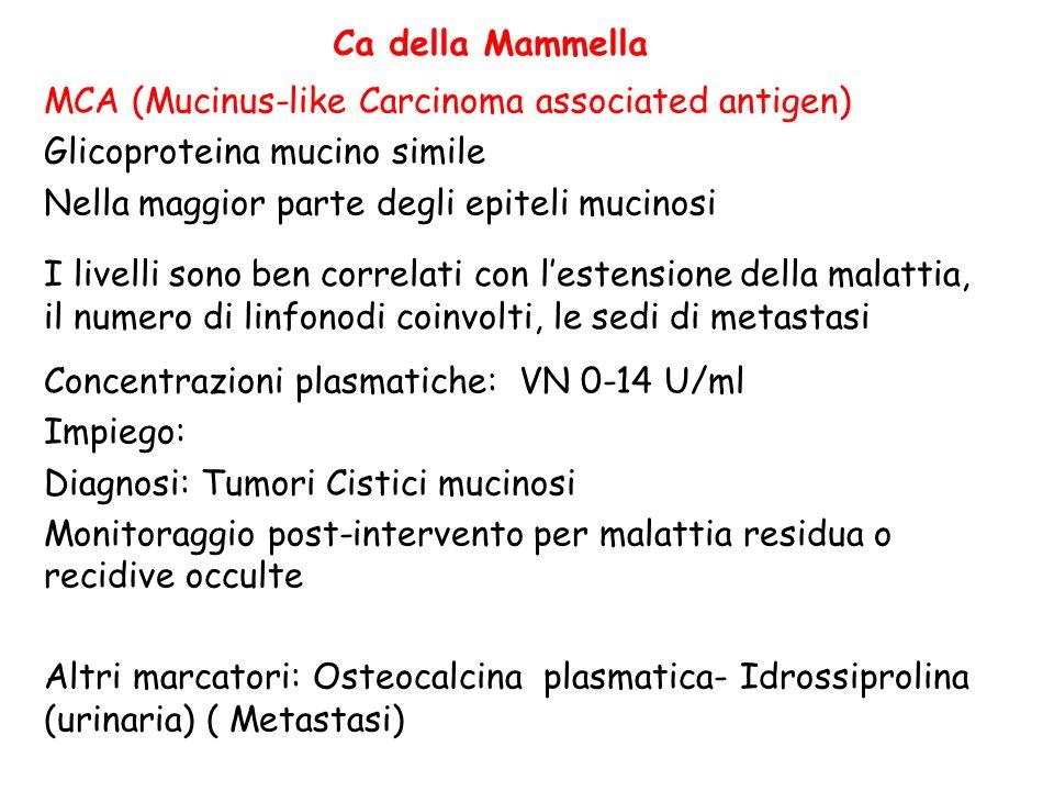 Ca della Mammella MCA (Mucinus-like Carcinoma associated antigen) Glicoproteina mucino simile. Nella maggior parte degli epiteli mucinosi.