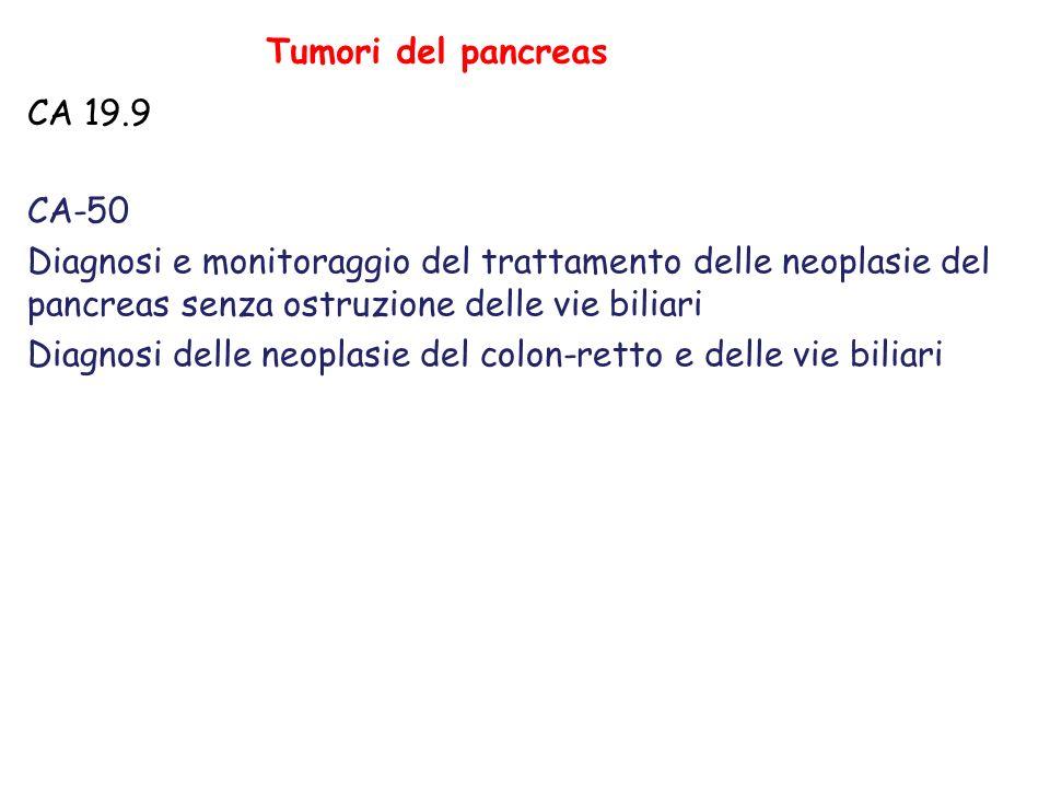 Tumori del pancreas CA 19.9. CA-50. Diagnosi e monitoraggio del trattamento delle neoplasie del pancreas senza ostruzione delle vie biliari.