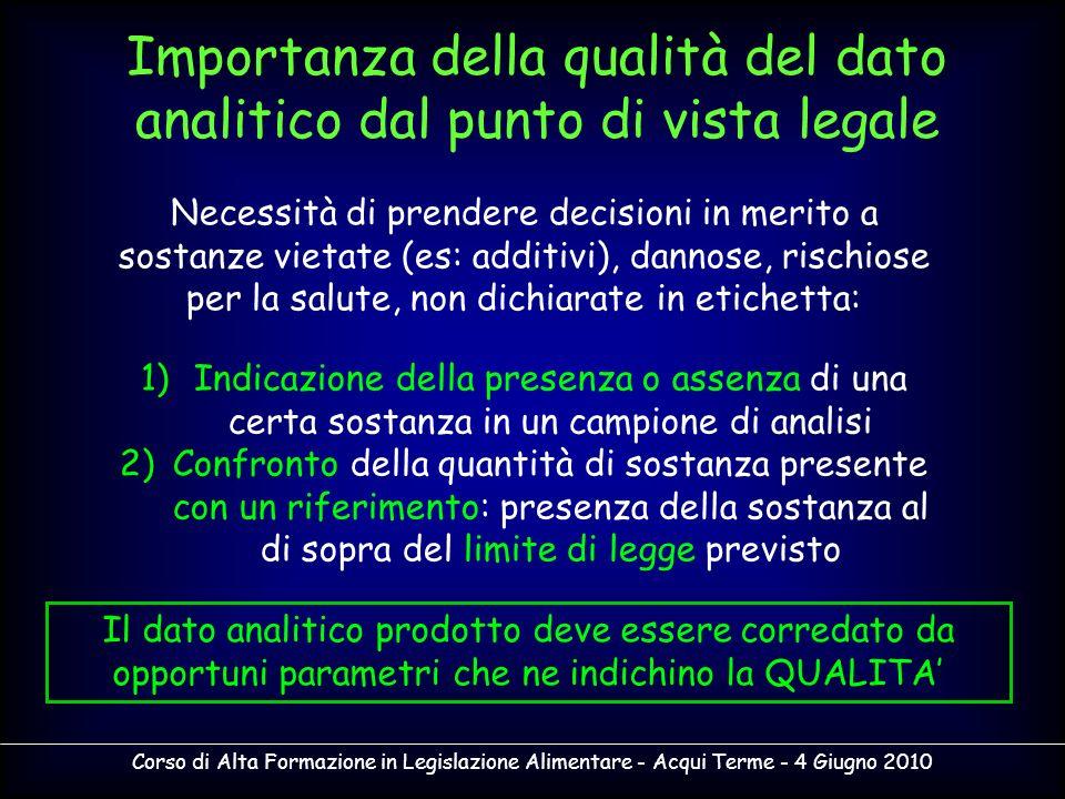 Importanza della qualità del dato analitico dal punto di vista legale