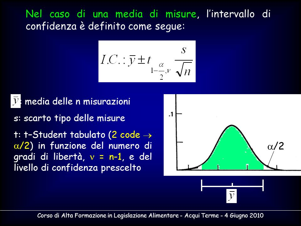 Nel caso di una media di misure, l'intervallo di confidenza è definito come segue: