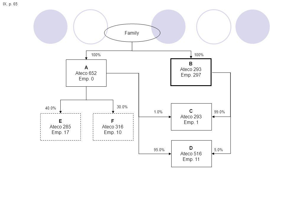 Family A Ateco 652 Emp. 0 B Ateco 293 Emp. 297 C Ateco 293 Emp. 1 E