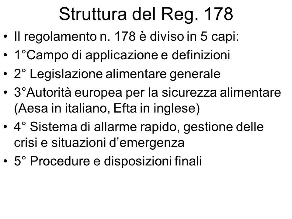 Struttura del Reg. 178 Il regolamento n. 178 è diviso in 5 capi: