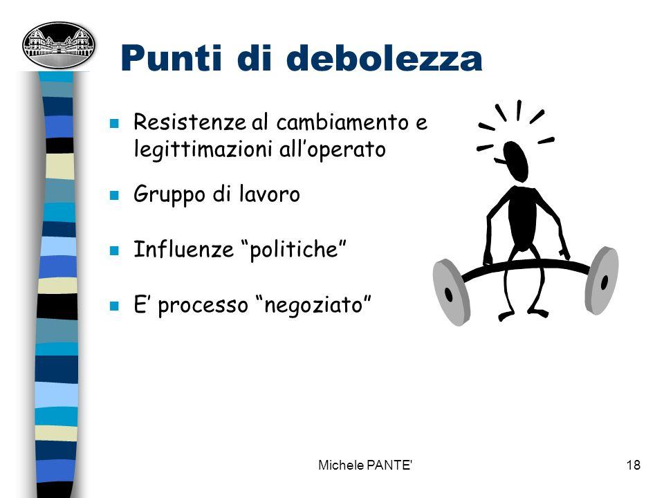 Punti di debolezza Resistenze al cambiamento e legittimazioni all'operato. Gruppo di lavoro. Influenze politiche