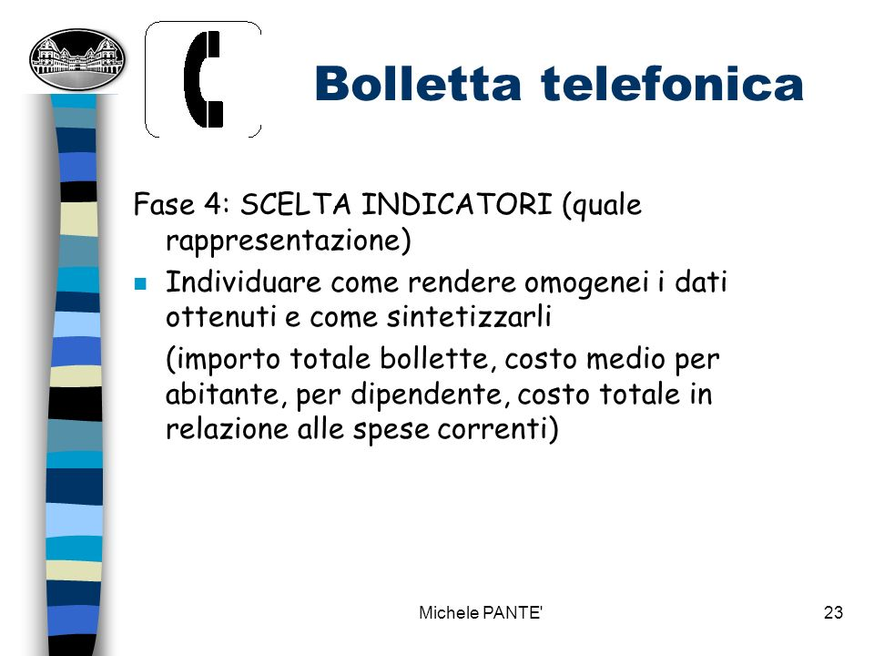 Bolletta telefonica Fase 4: SCELTA INDICATORI (quale rappresentazione)
